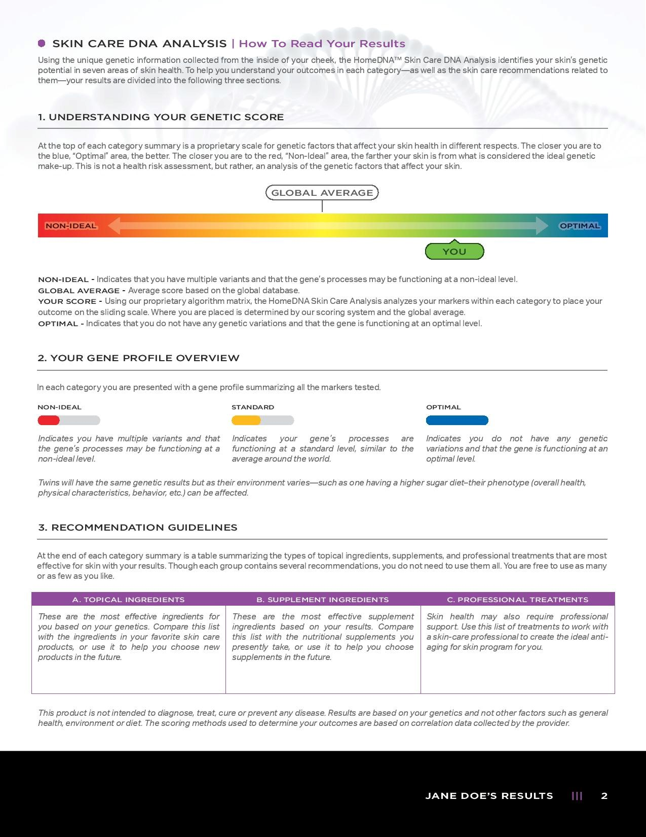 Page 2 of an example Skin Care DNA Test Report